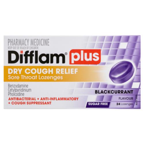 Difflam Plus Dry Cough Relief Sore Throat Lozenges Blackcurrant Flavour 24s