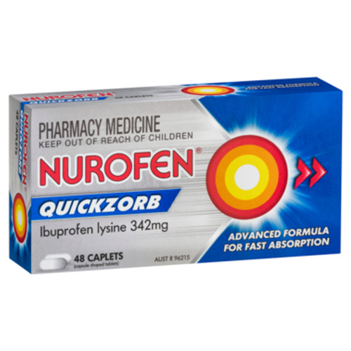 Nurofen Quickzorb Quick Pain Relief Caplets 342mg Ibuprofen 48 pack