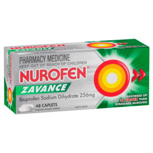 Nurofen Zavance Fast Pain Relief Caplets 256mg Ibuprofen 48 pack