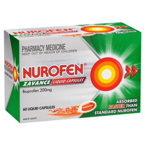 Nurofen Zavance Fast Pain Relief Liquid Capsules 200mg Ibuprofen 60 pack