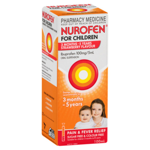 Nurofen For Children 3 months to 5 years Pain and Fever Relief 100mg/5mL Ibuprofen Strawberry 100mL