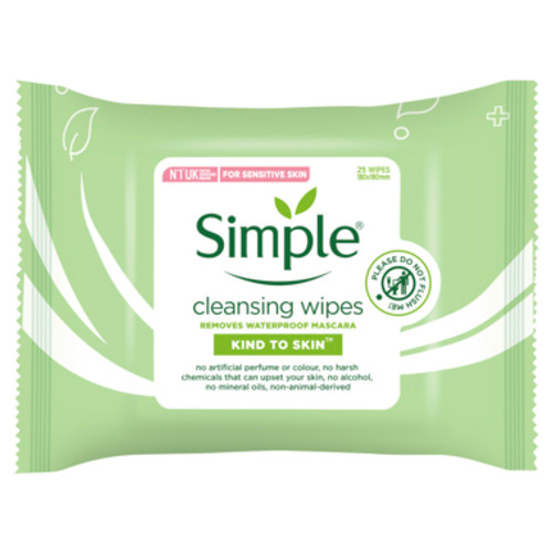 Simple Kind to Skin Facial Wipes Cleansing 25 Pack