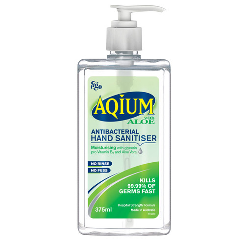 Ego Aqium Aloe Hand Sanitiser 375ml at Blooms The Chemist