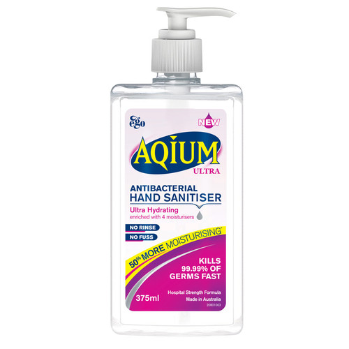 Ego Aqium Ultra Antibacterial Hand Sanitiser 375ml online at Blooms The Chemist