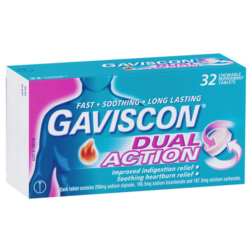 Gaviscon Double Action Tablets 32 in Australia at Blooms The Chemist