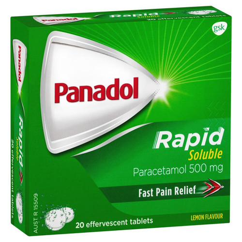 Panadol Rapid Soluble Tablet 500mg - 20 Tablets at Blooms The Chemist