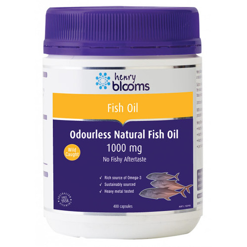 Henry Blooms Odourless Natural Fish Oil 1000mg 400 Capsules Blooms The Chemist