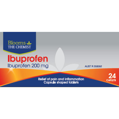 Ibuprofen 200mg - 24 Caplets by Blooms The Chemist