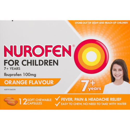 Nurofen Childrens 7+ Orange - 24 Chewable Capsules Blooms The Chemist