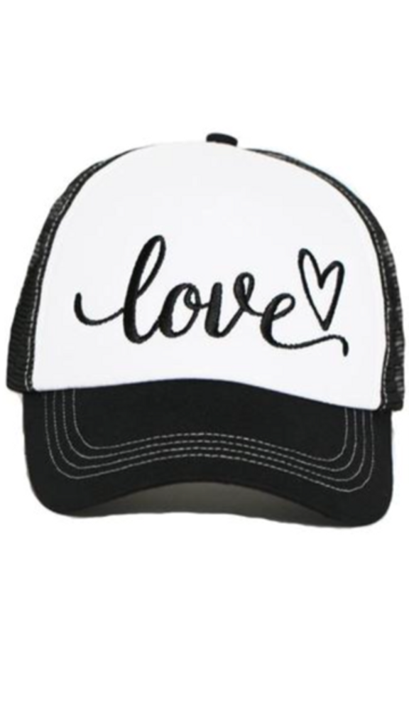LOVE EMBROIDERED TRUCKER HAT