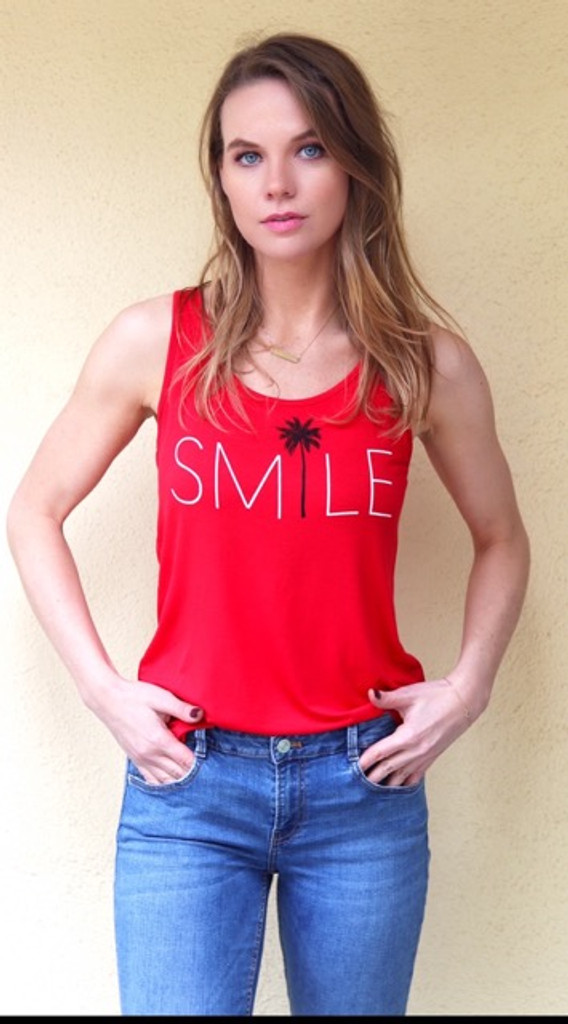 SMILE TANK with 3 PALM TREES on back.