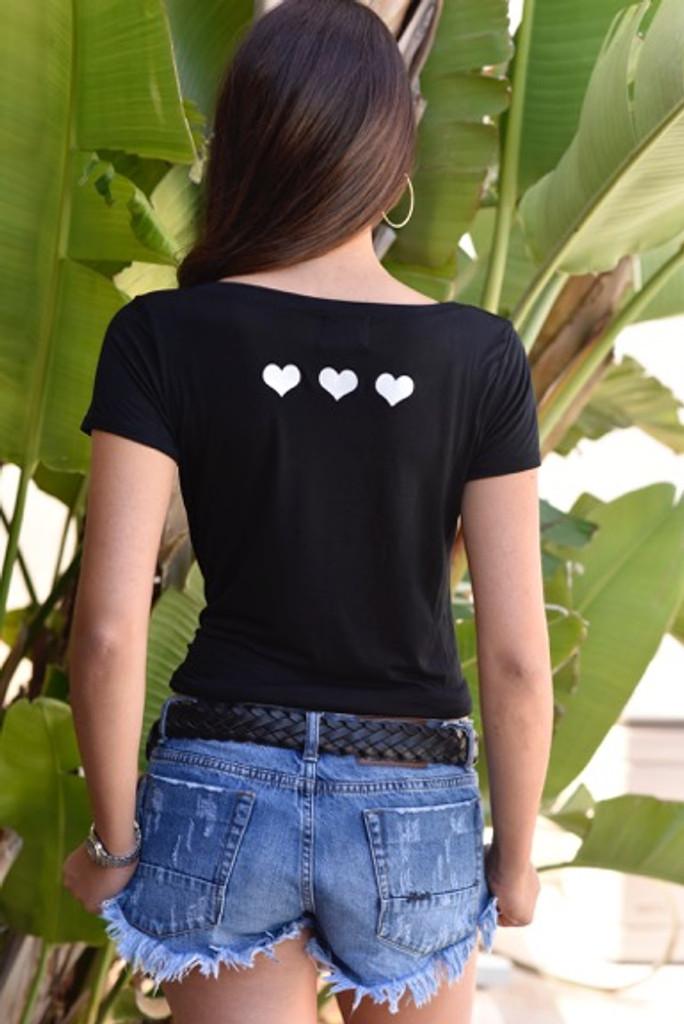 LOVE. S/S V NECK with 3 HEARTS on back. (Black)