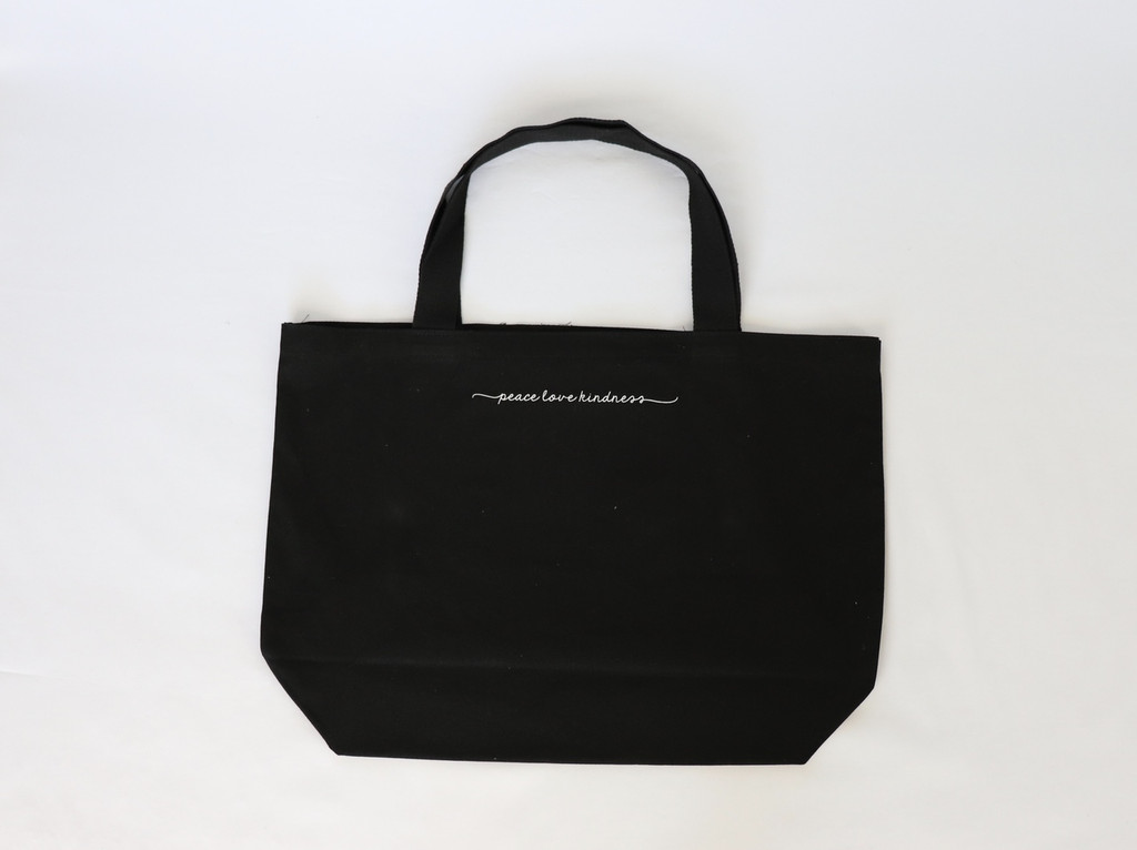 PEACE SIGN BLACK CANVAS TOTE with PEACE, LOVE, KINDNESS  on back.