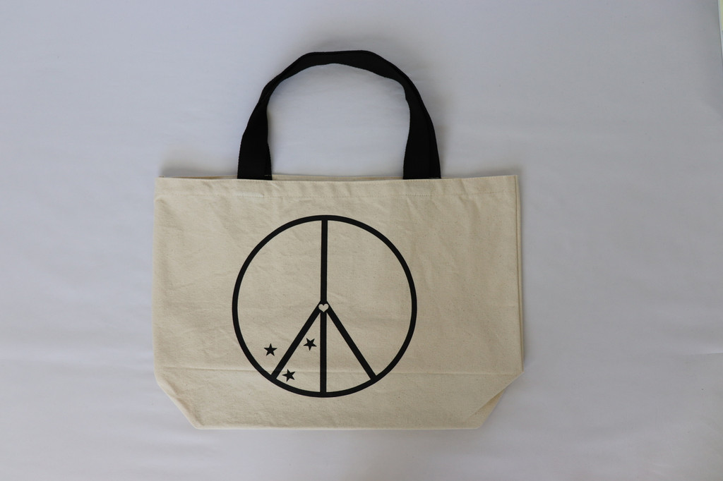 PEACE SIGN WITH STARS NATURAL CANVAS TOTE with PEACE, LOVE, KINDNESS  on back.