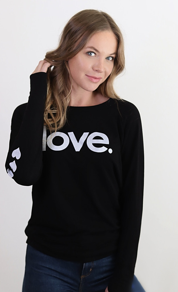LOVE. LIGHTWEIGHT FLEECE BLACK SWEATSHIRT (Black)