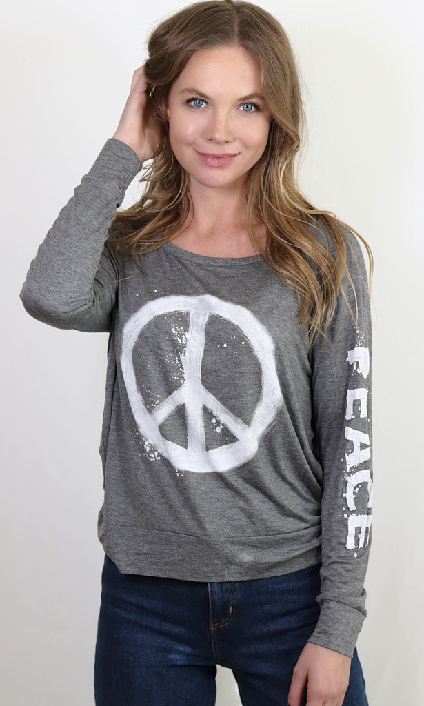 PEACE SPLATTER L/S OTS TOP