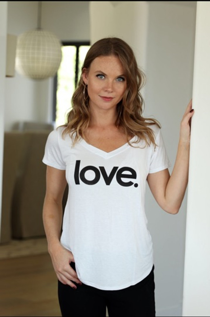 LOVE. S/S V NECK with 3 HEARTS on back (White)