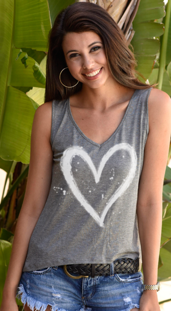 HEART SPLATTER V-NECK TANK