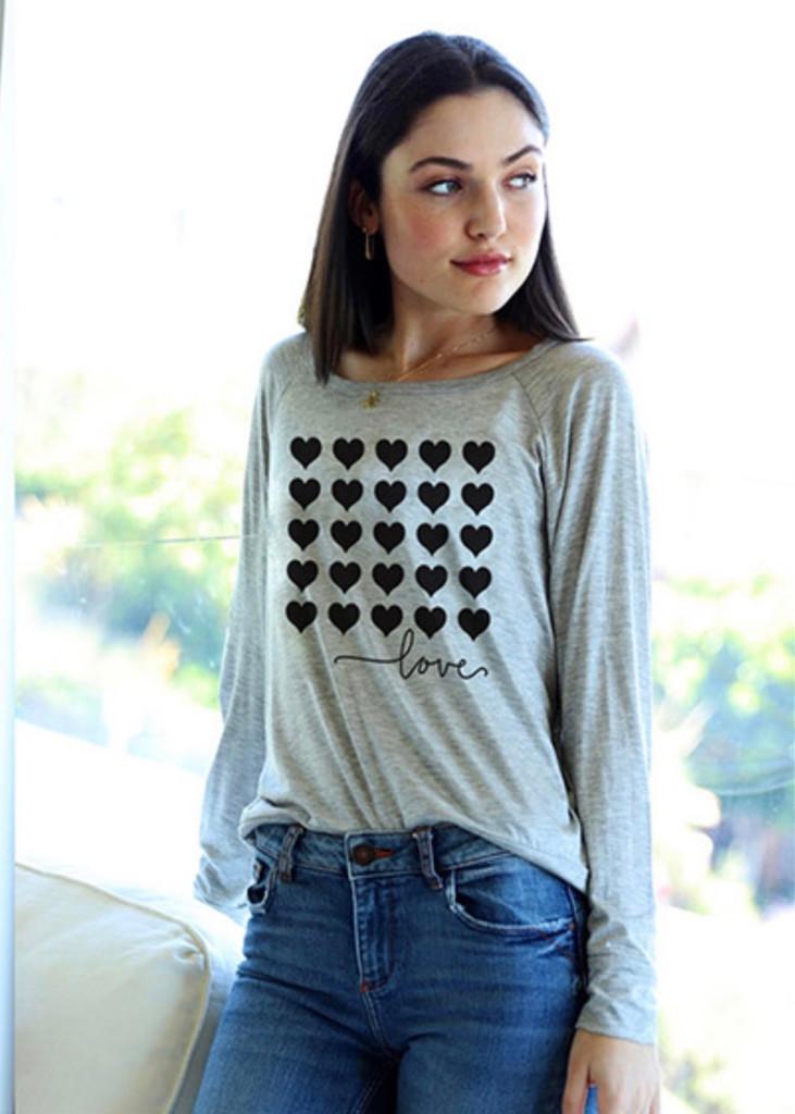 5 ROW HEARTS L/S OTS TOP (Grey)