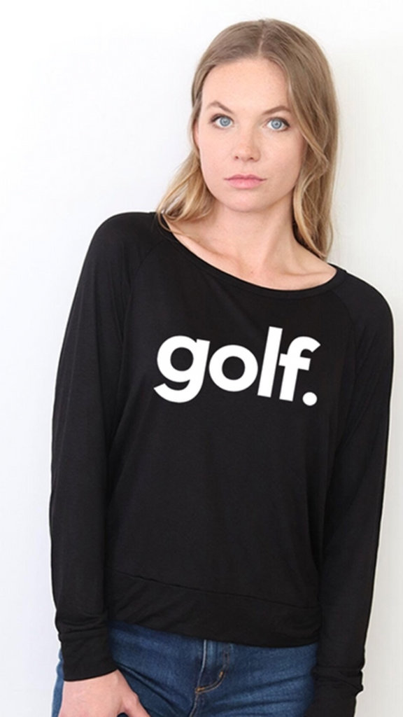 GOLF. L/S OTS TOP with EAT, SLEEP, GOLF REPEAT on back (Black)