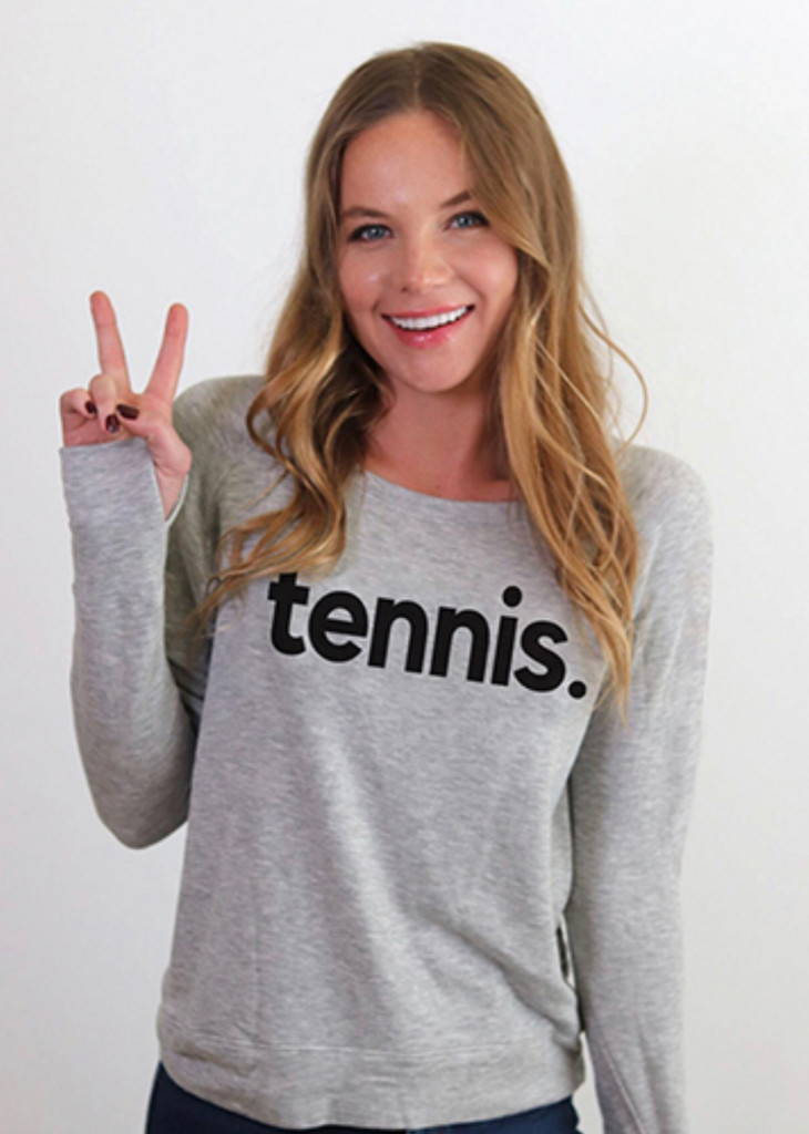 "TENNIS. LIGHTWEIGHT FLEECE SWEATSHIRT with ""IT ALL STARTS WITH LOVE"" on back. (Grey)"