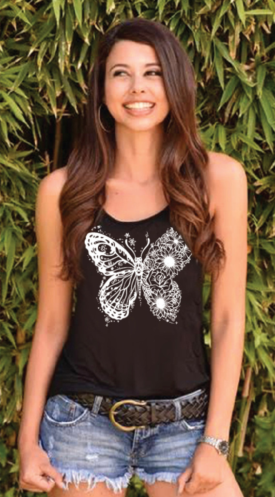 BUTTERFLY TANK with ART DOODLE on back