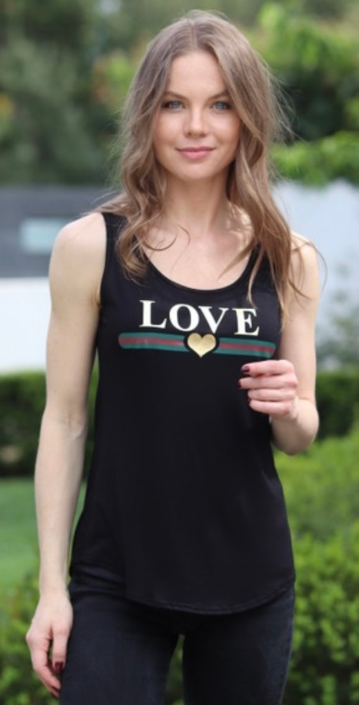 LOVE GUCCI TANK with 3 GOLD FOIL HEARTS on back