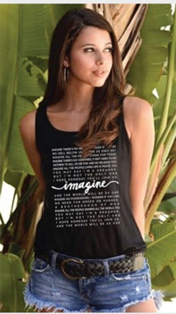 IMAGINE (WITH LYRICS) TANK with a PEACE SIGN GRAPHIC on BACK. (Black)