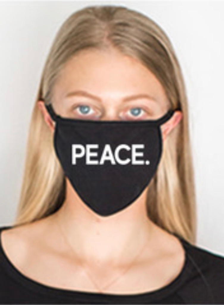 PEACE COTTON FACE MASK (Black)