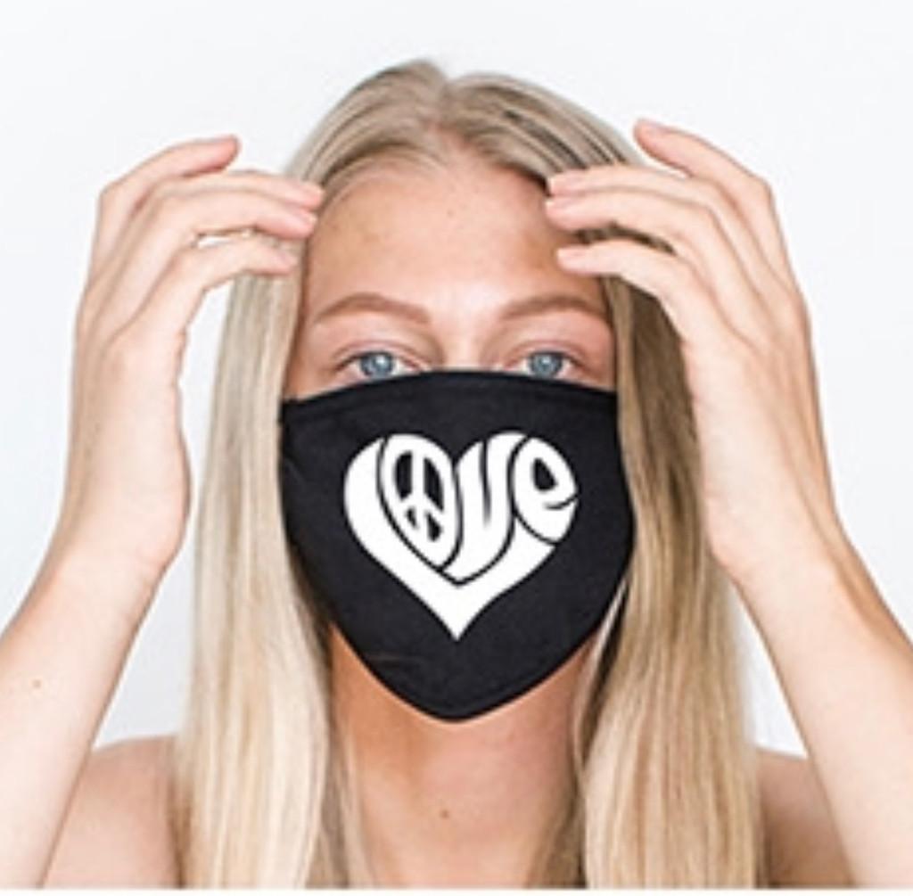 HEART LOVE LETTERS COTTON FACE MASK (Black)