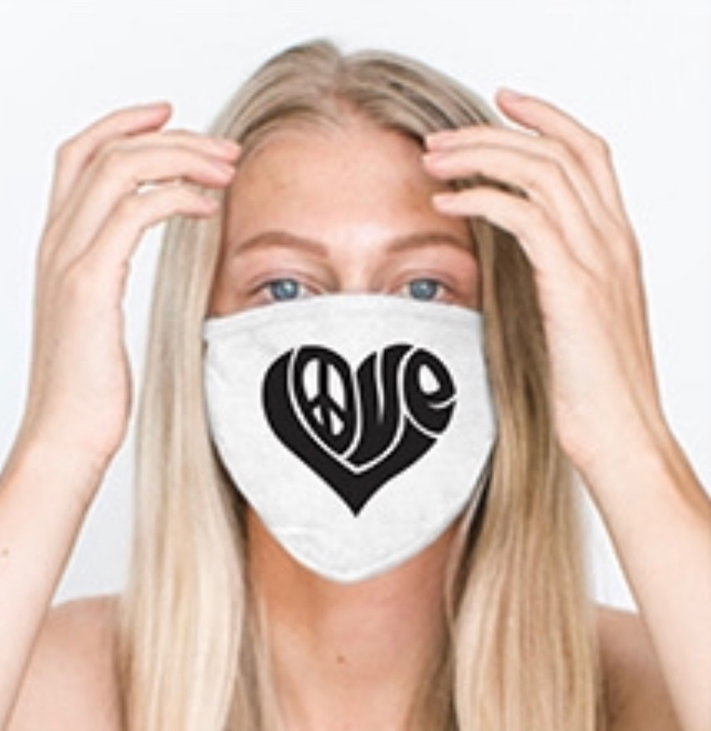 HEART LOVE LETTERS  COTTON FACE MASK (White)