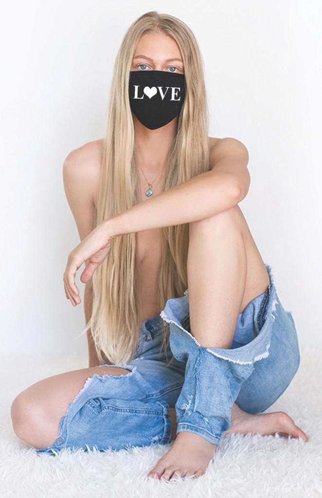 LOVE HEART COTTON FACE MASK (Black)