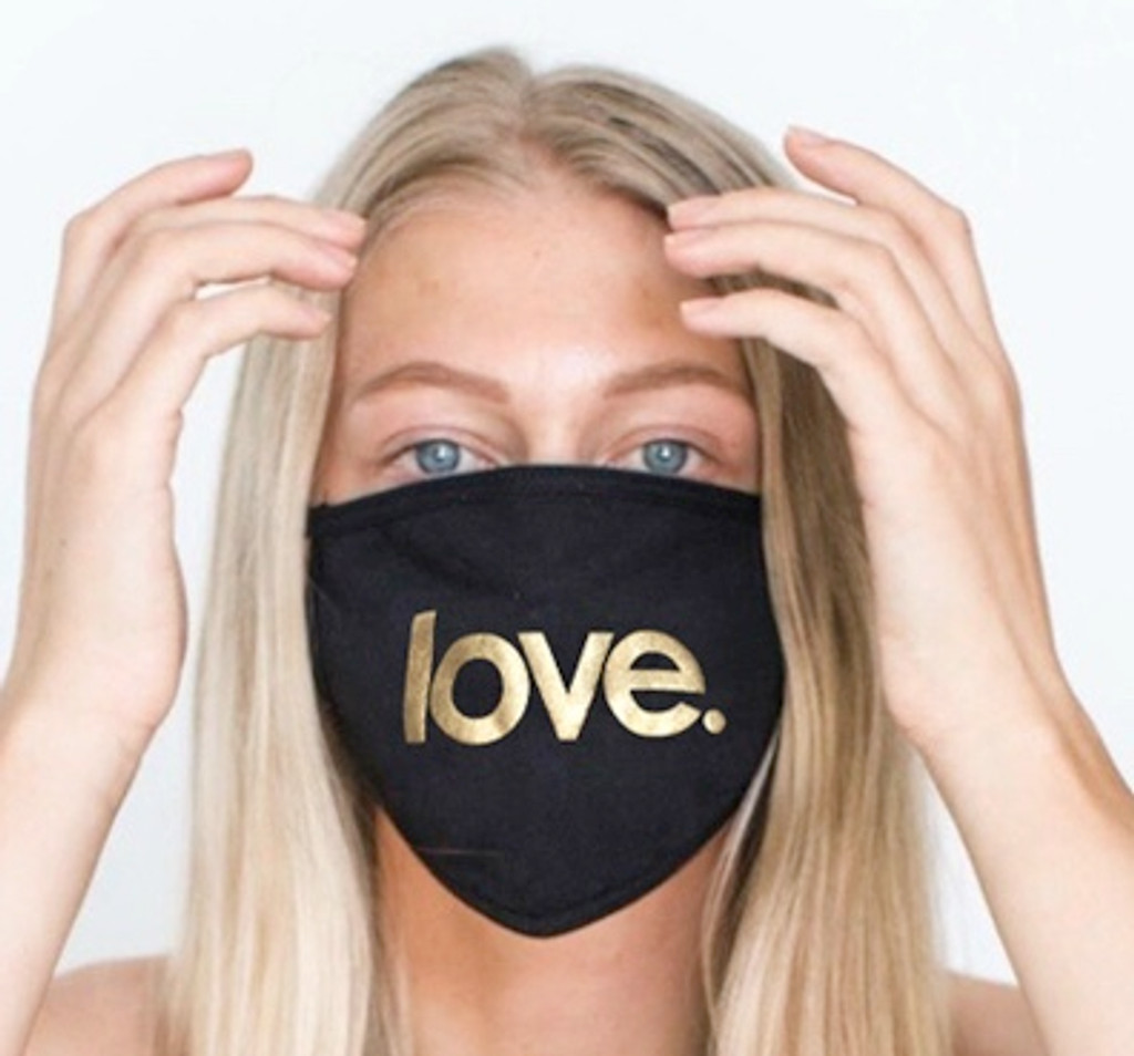 LOVE COTTON FACE MASK (Black w/ Gold))