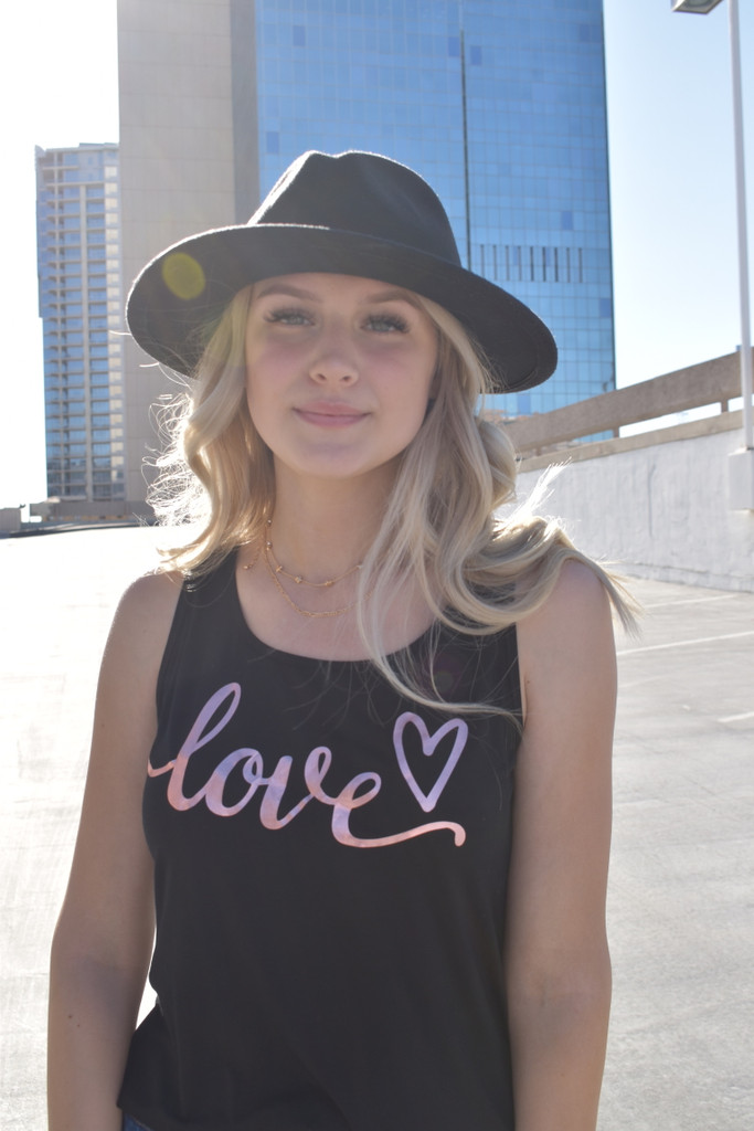 LOVE CURSIVE TANK with ROSE FOIL GRAPHIC and SCATTERED  HEARTS on back (Black)