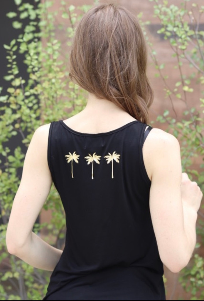 SMILE TANK with a 3 PALM TREES GRAPHIC IN GOLD FOIL on BACK (Black)
