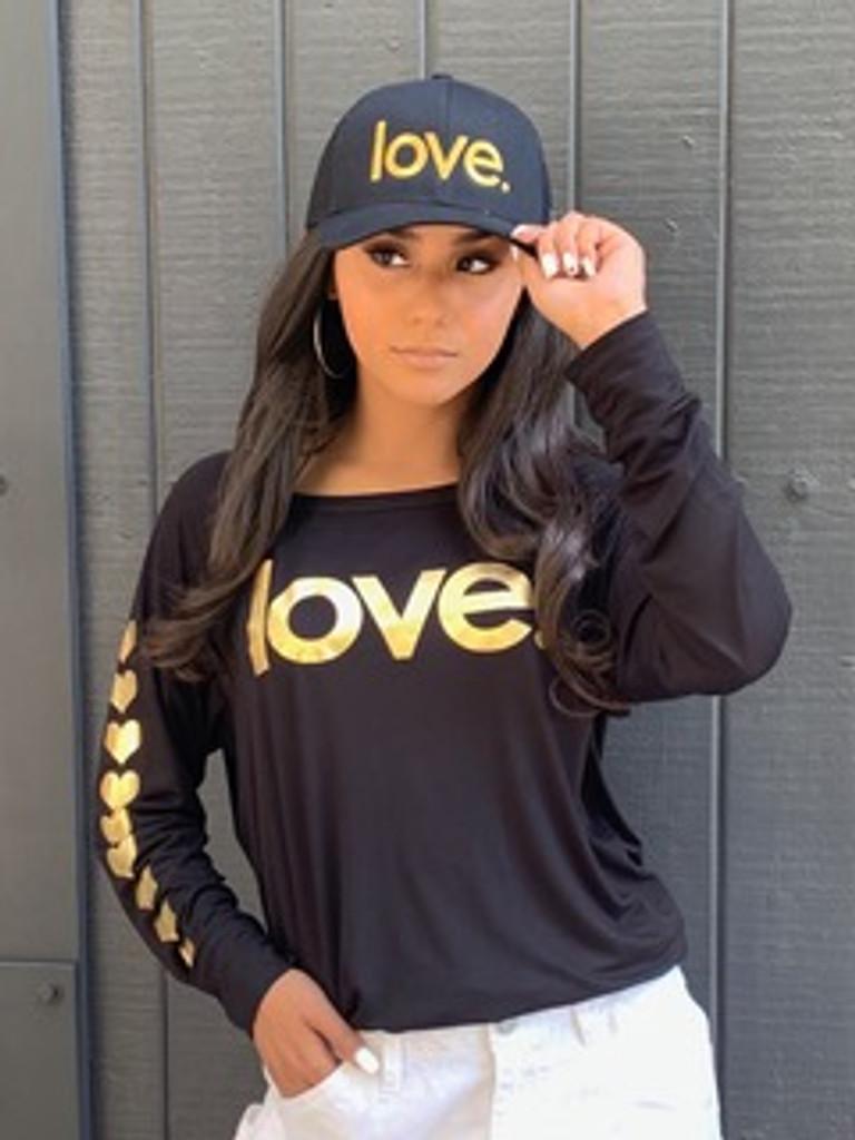 LOVE. IN GOLD FOIL BLACK L/S TEE (Black)