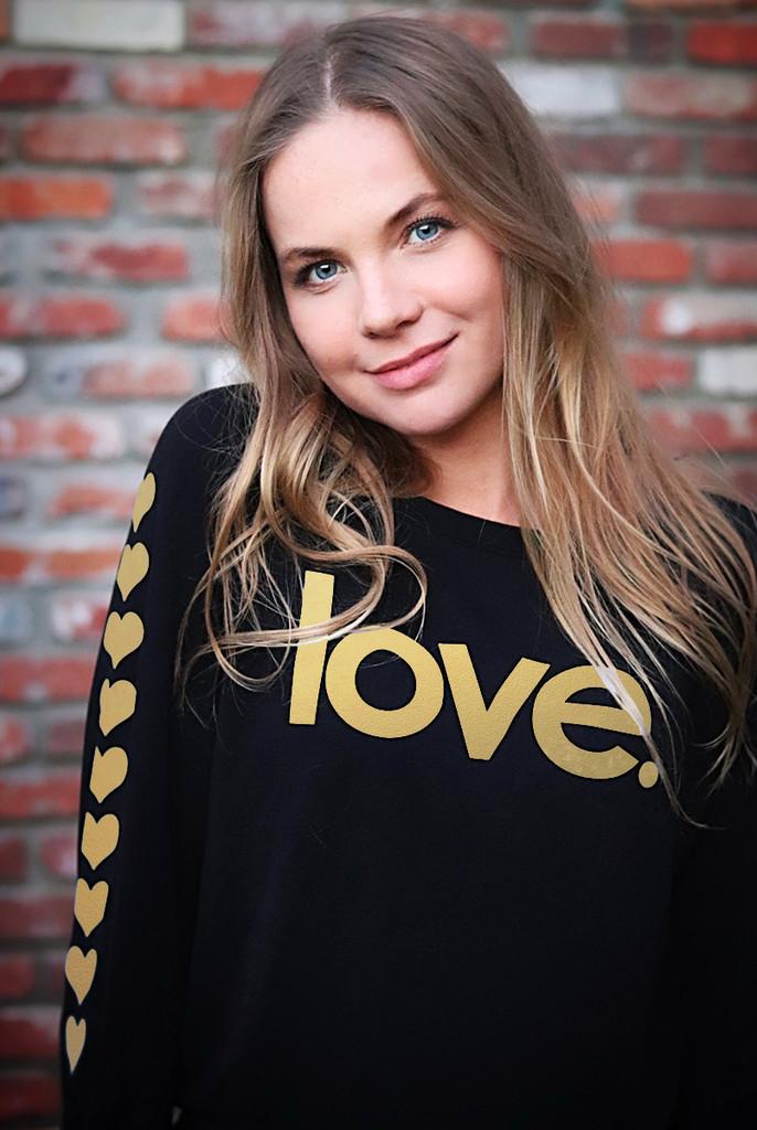 LOVE. LIGHTWEIGHT FLEECE BLACK SWEATSHIRT (Black/Gold)