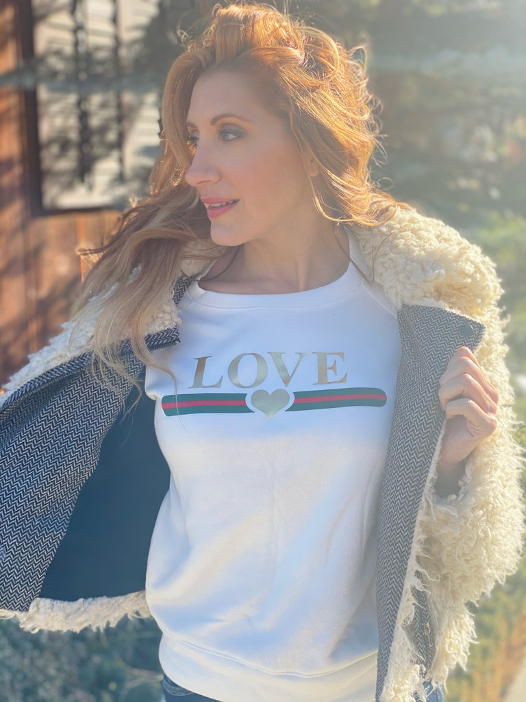 LOVE GUCCI WITH GUCCI INSPIRED STRIPE L/S FLEECE PULLOVER with GOLD FOIL HEARTS on Arm (Winter White)