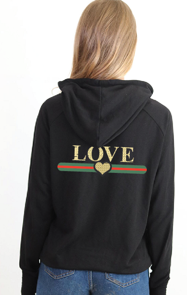 LOVE GUCCI WITH GUCCI INSPIRED STRIPE LIGHTWEIGHT FLEECE ZIP HOODIE with GOLD FOIL HEARTS on Arm (Black)
