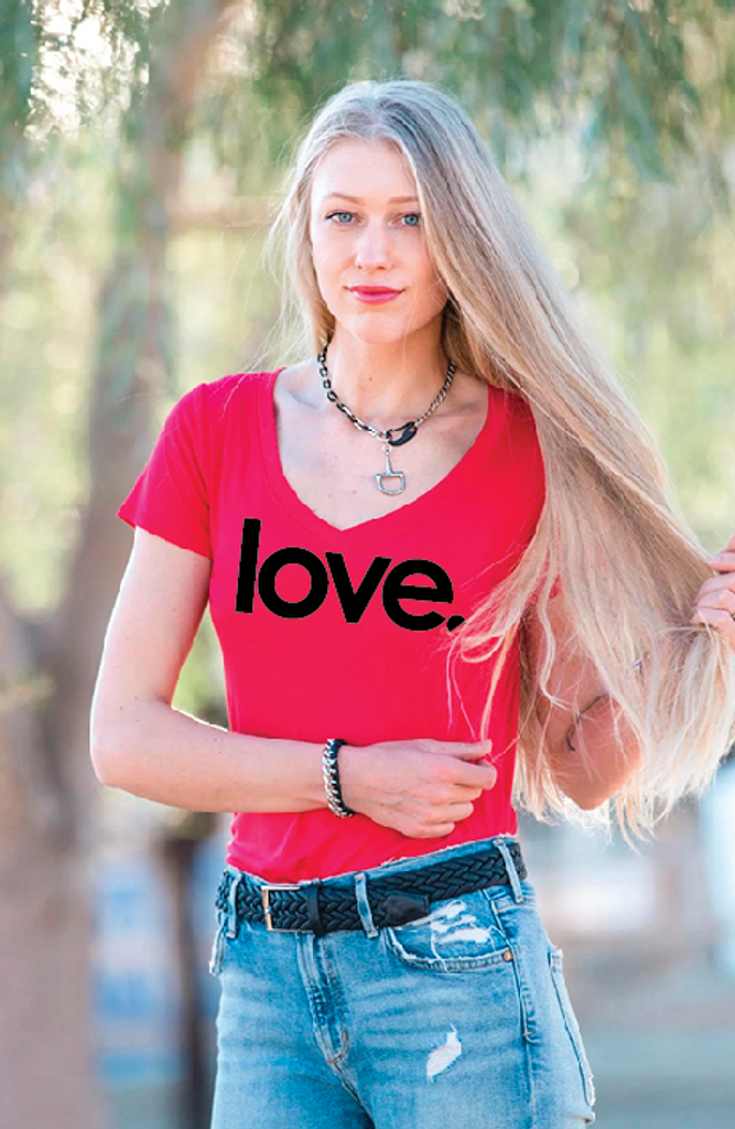 LOVE. S/S V NECK with 3 HEARTS on back. (Red)