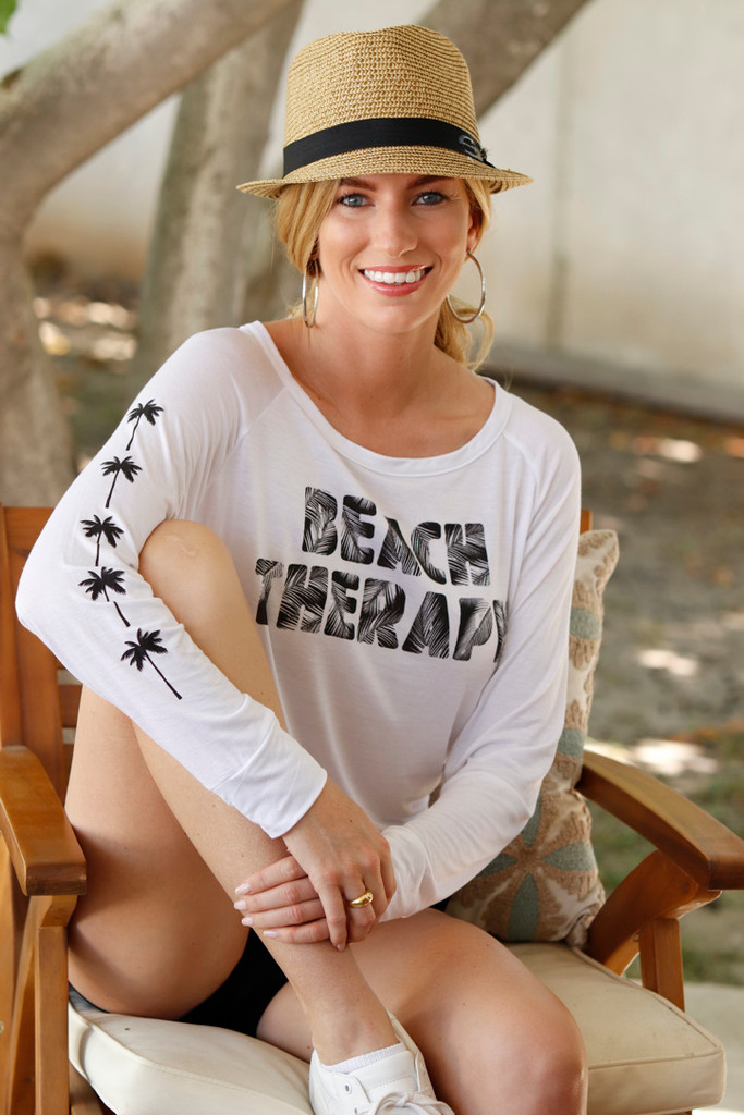 BEACH THERAPY L/S TEE with a PALM TREES GRAPHIC on ARM (White)