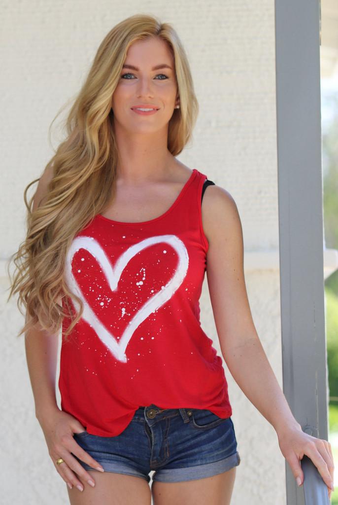HEART SPLATTER TANK  (Red)