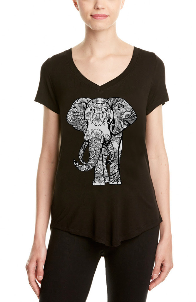 BLACK ELEPHANT S/S V NECK