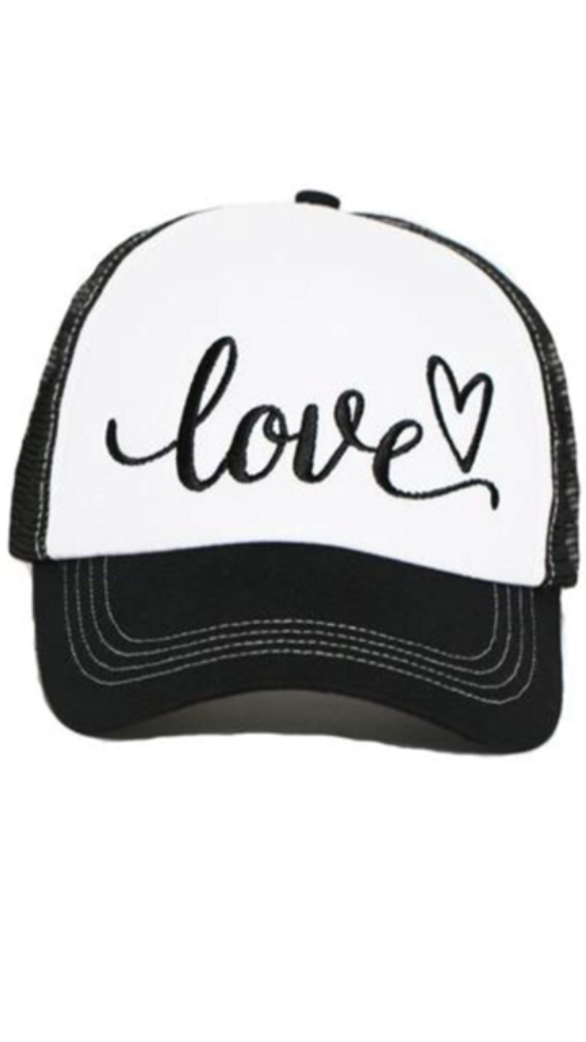 LOVE EMBROIDERED TRUCKER HAT