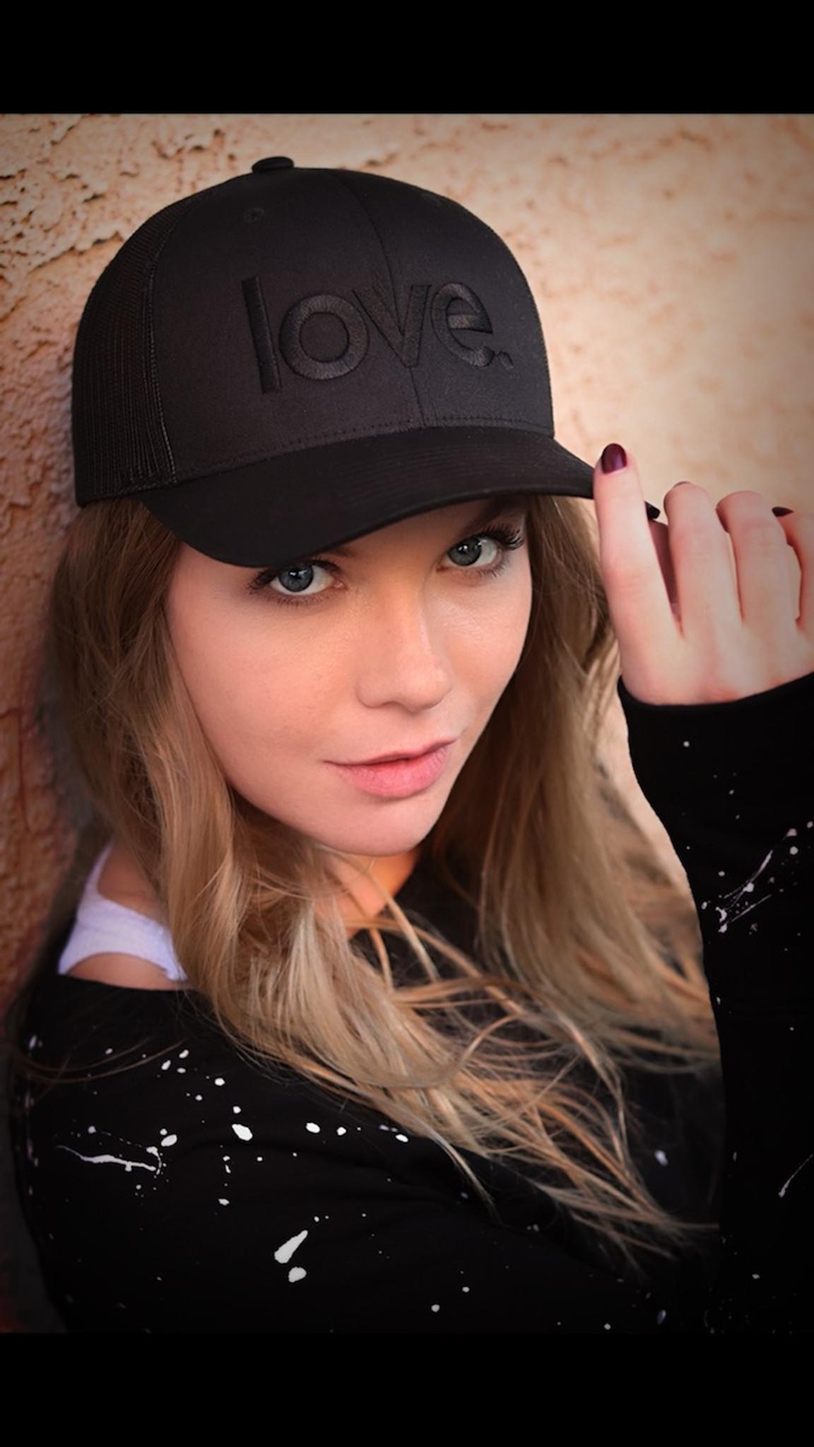 LOVE. EMBROIDERED TRUCKER HAT BLACK ON BLACK