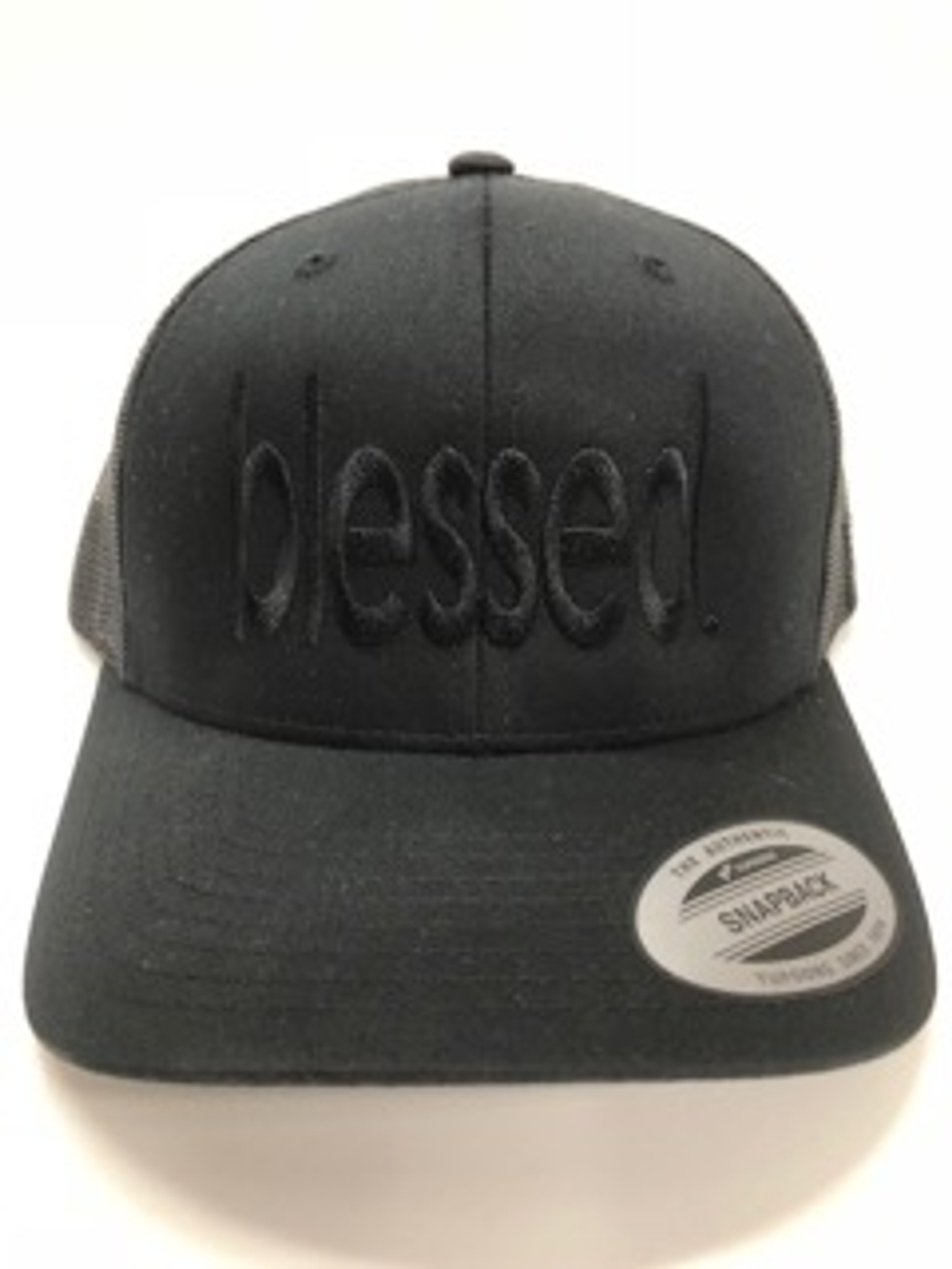 BLESSED. EMBROIDERED TRUCKER HAT BLACK ON BLACK