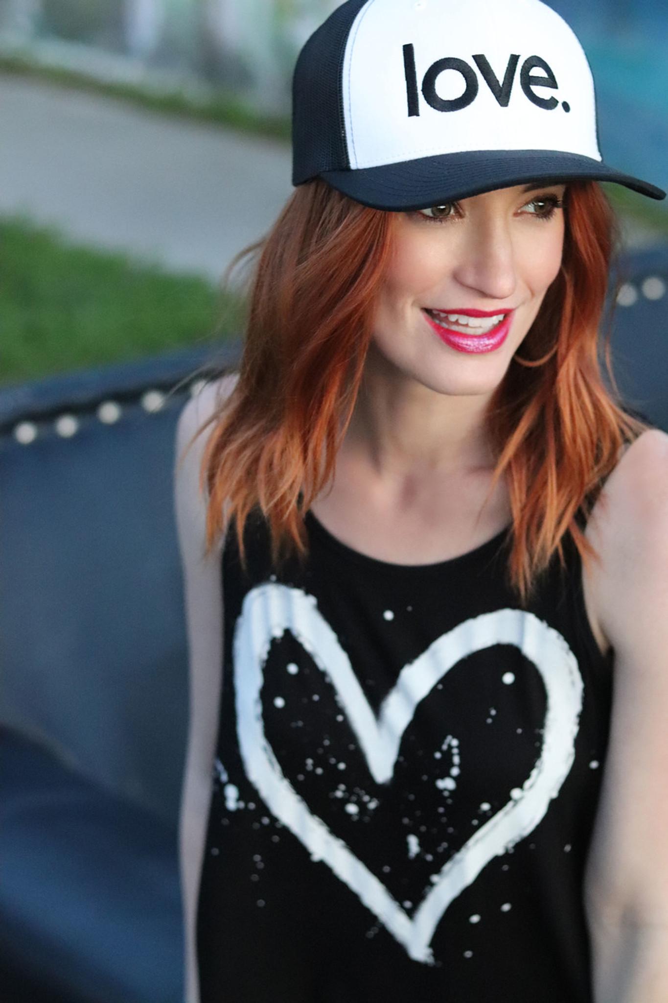 LOVE. EMBROIDERED TRUCKER HAT BLACK ON WHITE