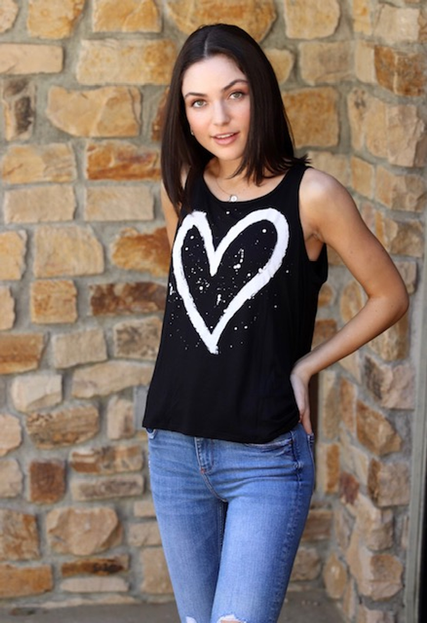 HEART SPLATTER OPEN BACK TANK