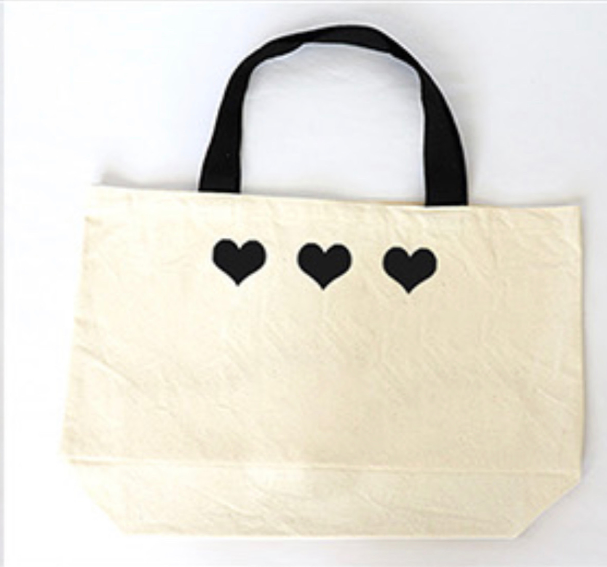 5 ROW HEARTS WITH LOVE NATURAL CANVAS TOTE with 3 HEARTS on back.