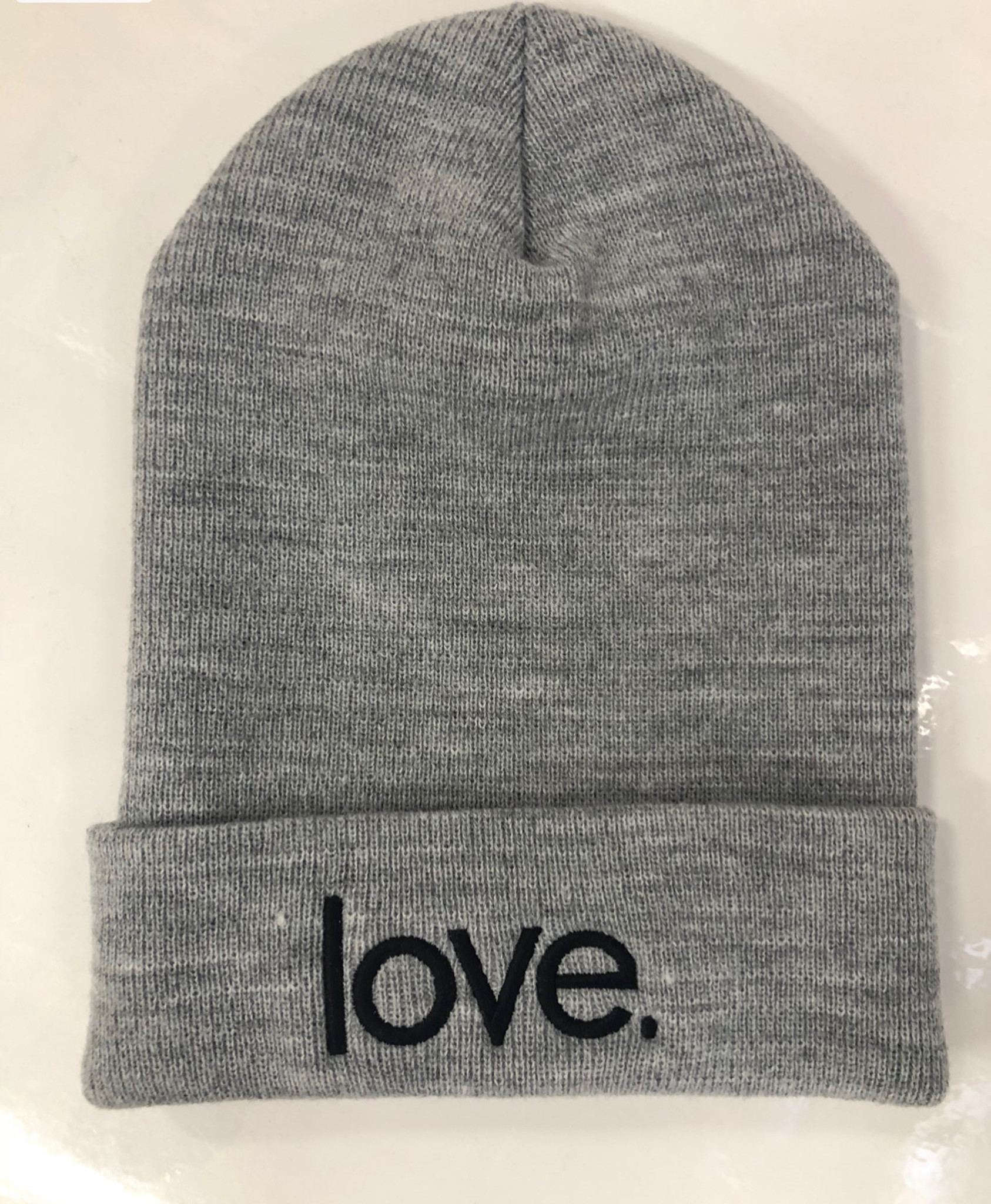 LOVE. EMBROIDERED CUFFED KNIT BEANIE (Grey)